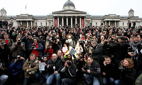 Photographers protest in Trafalgar Square against the use of anti-terror stop and search powers, which they believe police are using to intimidate people with cameras. Photograph: Oli Scarff/Getty Images